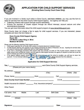 Form Application for Child Support Services - Wisconsin Forms ...