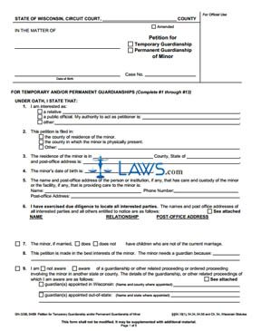 Form GN-3290 Petition for Temporary or Permanent Guardianship of Minor