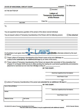 Form GN-3260 Letters of Temporary Guardianship of the Person