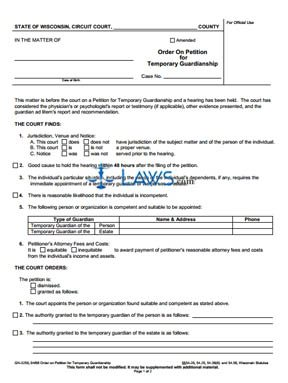 Form GN-3250 Order on Petition for Temporary Guardianship
