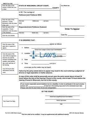 Form FA-4142 Order to Appear