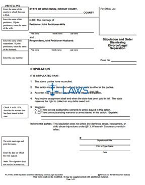 Form FA-4143 Stipulation and Order Dismissing Divorce/Legal Separation