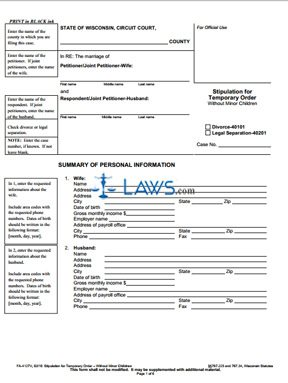 Form FA-4127 Stipulation for Temporary Order Without Minor Children