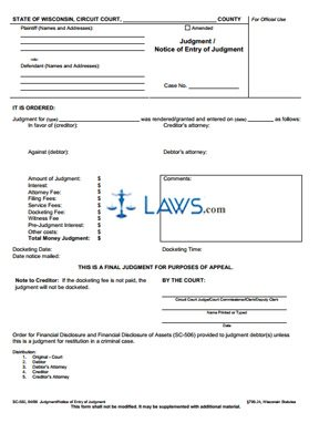 Form SC-502 Judgment/Notice of Entry of Judgment
