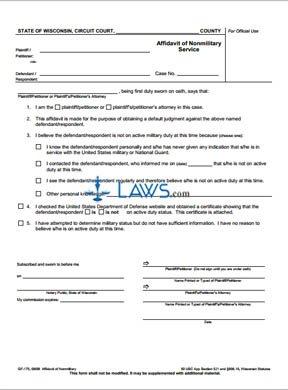 Form GF-175 Affidavit of Nonmilitary