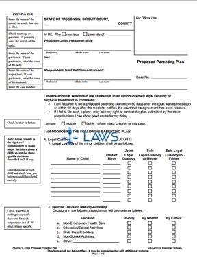 Form FA-4147V Proposed Parenting Plan