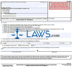 Response to Application for Expedited Child Support Order and Notice of Hearing