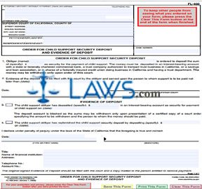 Order for Child Support Security Deposit and Evidence of Deposit