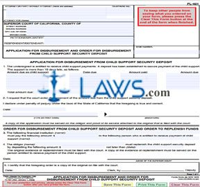 Application for Disbursement and Order for Disbursement From Child Support Security Deposit
