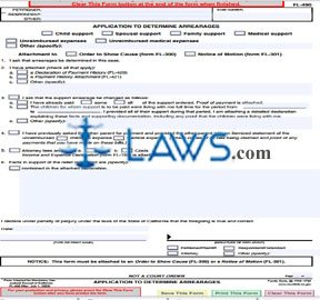Application to Determine Arrearages