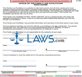 Office of the Family Law Facilitator Disclosure
