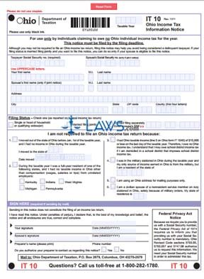 form it 10 ohio income tax information notice ohio forms