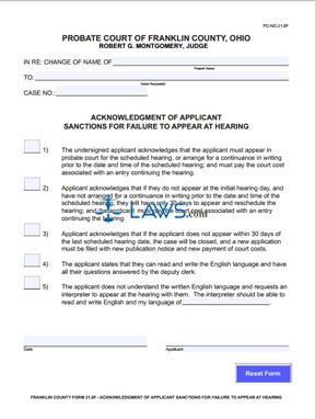 Form PC-NC-21.0F Acknowledgment of Applicant Sanctions for Failure to Appear At Hearing