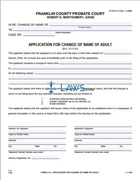 Form PC-NC-21.0 Application for Change of Name of Adult