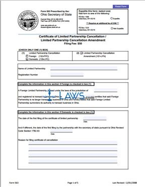 Form 563 Certificate of Limited Partnership Cancellation/Limited Partnership Cancellation Amendment