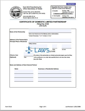 Form 531A Certificate of Limited Partnership