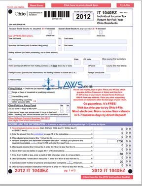 Form IT 1040EZ Individual Income Tax Return for Full-Year Ohio ...