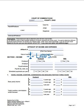 Form Affidavit of Income and Expenses