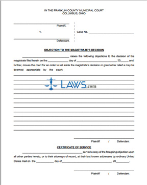 Form Objection to the Magistrate's Decision