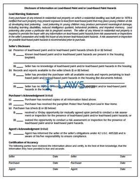 Lead Based Paint Disclosure - HUD