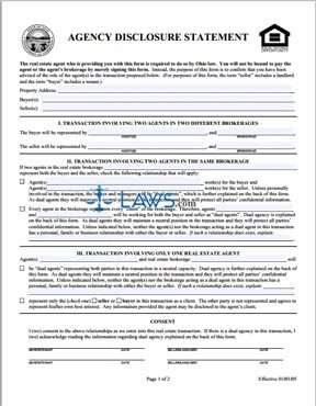 Agency Disclosure Statement - Ohio Forms - | Laws.com