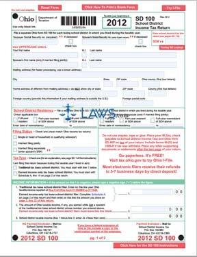 Form SD 100 School District Income Tax Return - Ohio Forms ...