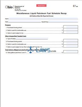 Miscellaneous Liquid Petroleum Fuel Schedule Recap