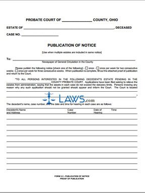 publication of notice proof of publication ohio forms