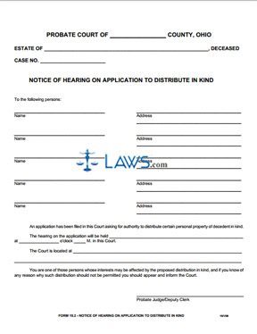 Notice of Hearing on Application to Distribute in Kind