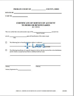 Certificate of Service of Account to Heirs or Beneficiaries - Ohio ...
