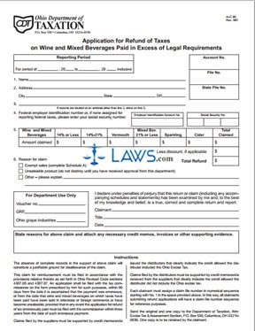 Application for Refund of Taxes on Wine and Mixed Beverages Paid in Excess of Legal Requirements