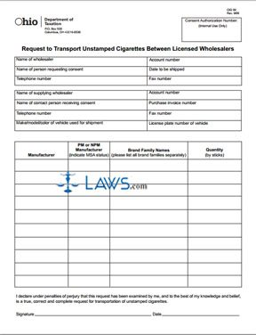Request to Transport Unstamped Cigarettes Between Licensed Wholesalers