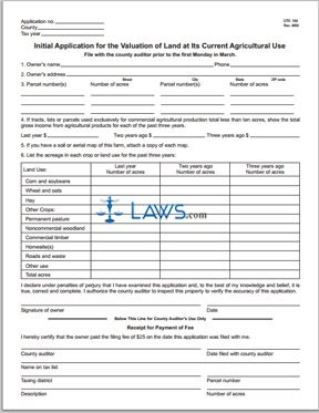 Initial Application for the Valuation of Land at Its Current Agricultural Use