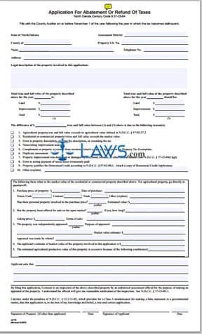 Form Application for Abatement or Refund of Taxes