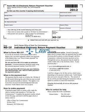 Form ND-1V Electronic Return Payment Voucher