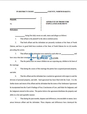 Form Affidavit of Proof for Stipulated Judgment