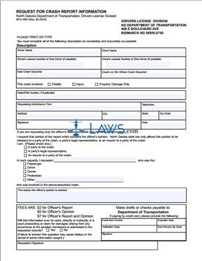 Form SFN4901 Request for Crash Report Information