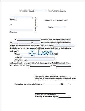 Affidavit of Service by Mail (of Reply)