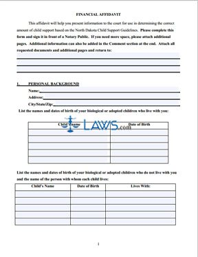 Financial Affidavit to Support Reply