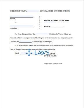 Order Waiving Filing Fees