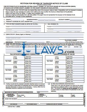Form 82179C-1 Petition for Review of Taxpayer Notice of Claim