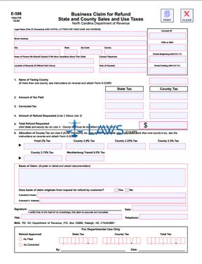 Form E-588 Business Claim for Refund State and County Sales and Use Taxes