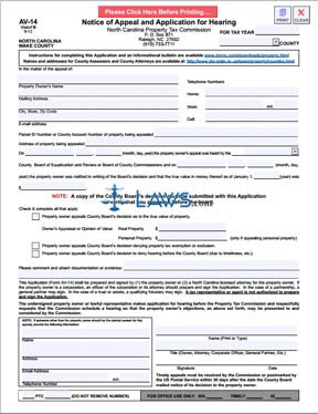 Form AV-14 Notice of Appeal and Application for Hearing