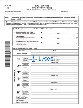 Form NC-478H Tax Credit Low-Income Housing