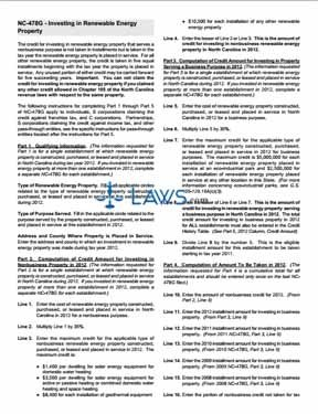 Form Instructions for NC-478G Investing in Renewable Energy Property
