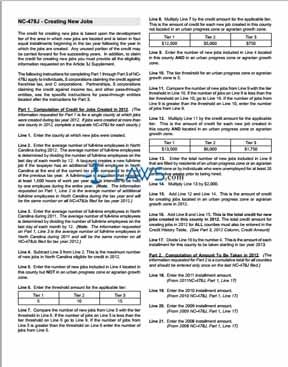 Form Instructions for NC-478J Creating New Jobs