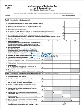 Form CD-429B Underpayment of Estimated Tax by C Corporations