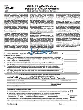Form NC-4P Withholding Certificate for Pension or Annuity Payments ...