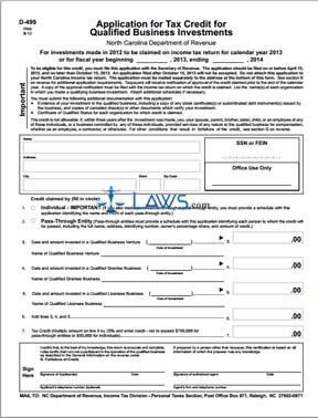 Form D-499 Application for Tax Credit for Qualified Business Investments