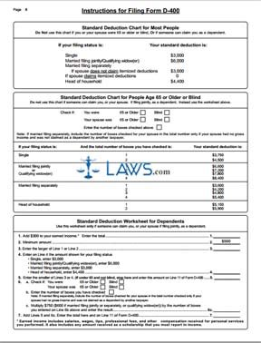 Form D-401 Individual Income Tax Instructions for Form D-400